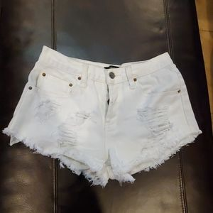 Forever 21 white distressed jean shorts